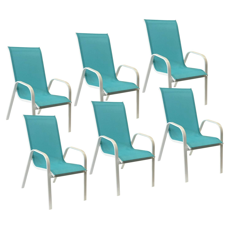 Lot de 6 chaises MARBELLA en textilène bleu - aluminium blanc