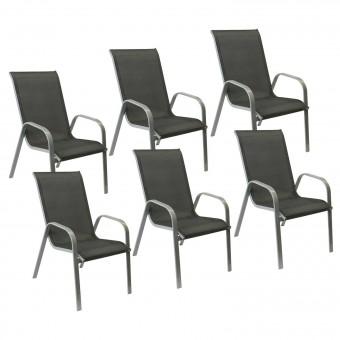 Lot de 6 chaises MARBELLA en textilène gris - aluminium gris