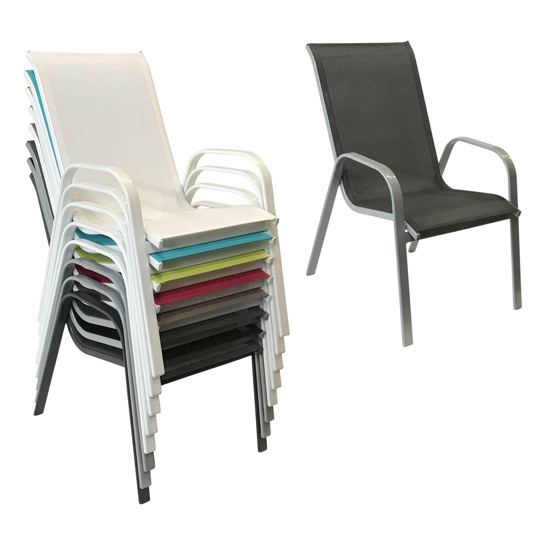 Lot de 8 chaises MARBELLA en textilène gris - aluminium gris