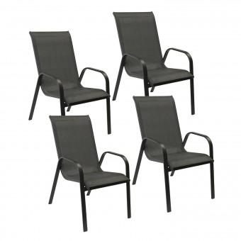 Lot de 4 chaises MARBELLA en textilène gris - aluminium gris anthracite