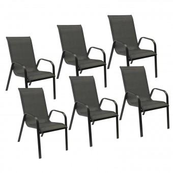 Lot de 6 chaises MARBELLA en textilène gris - aluminium gris anthracite