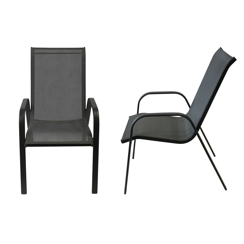 Lot de 6 chaises MARBELLA en textilène gris - aluminium noir