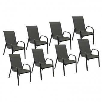 Lot de 8 chaises MARBELLA en textilène gris - aluminium gris anthracite