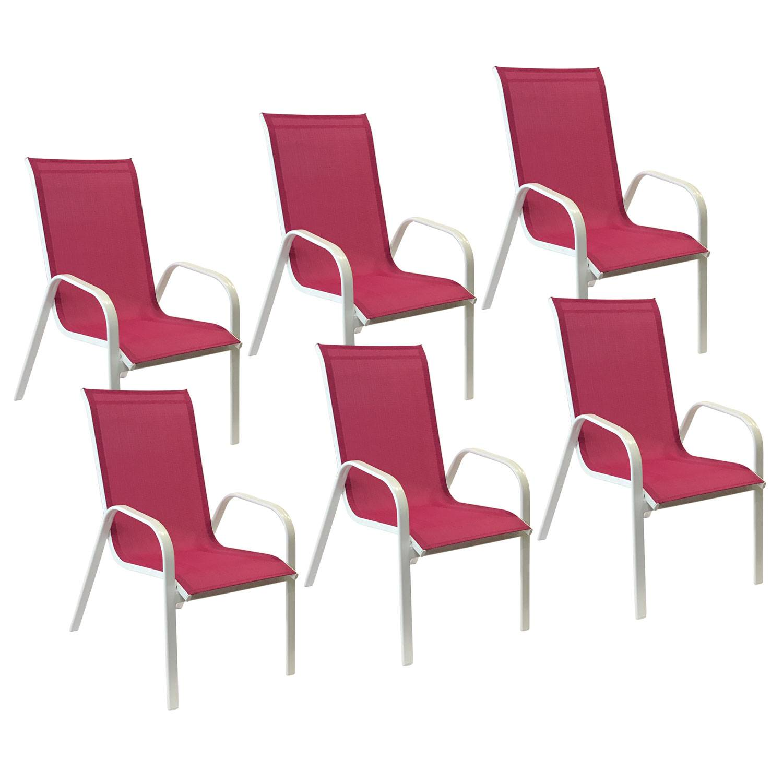 Lot de 6 chaises MARBELLA en textilène rose - aluminium blanc