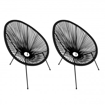 Lot de 2 fauteuils œuf ACAPULCO noir