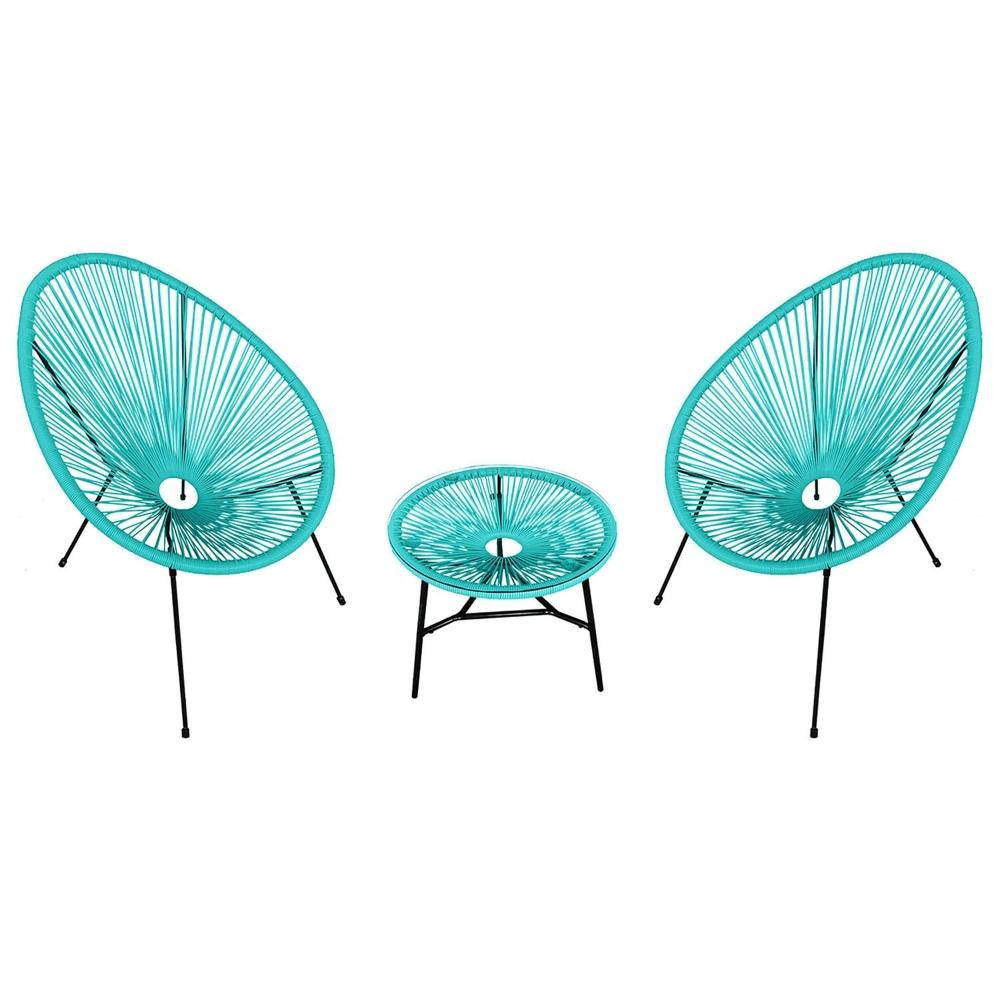Ensemble de 2 fauteuils oeuf + table ACAPULCO aqua