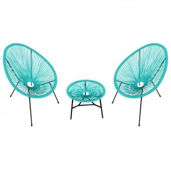 Ensemble de 2 fauteuils œuf + table ACAPULCO aqua