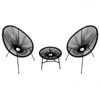 Ensemble de 2 fauteuils œuf + table ACAPULCO noir