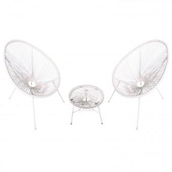 Ensemble de 2 fauteuils œuf + table ACAPULCO blanc