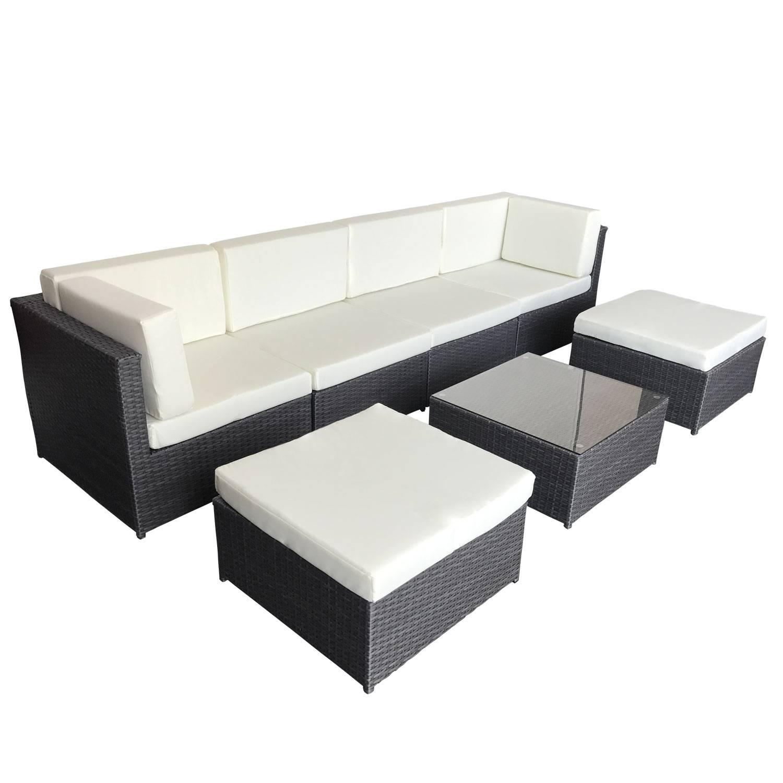 Salon de jardin BONIFACIO en résine tressée gris 6 places - coussin blancs