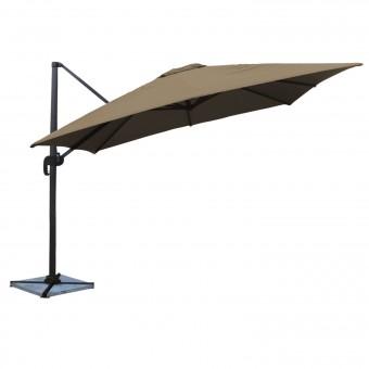 Parasol déporté MOLOKAI carré 3x3m taupe