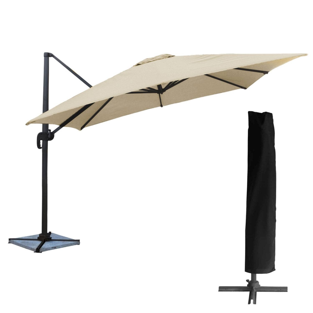 Parasol déporté MOLOKAI carré 3x3m beige + housse