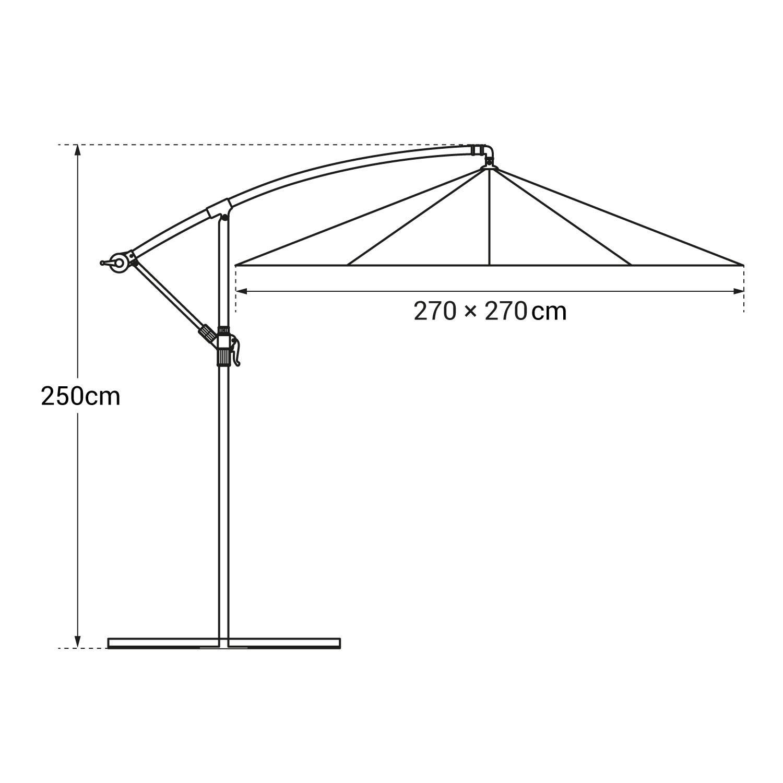 Parasol déporté MOLOKAI carré 2,7x2,7m gris