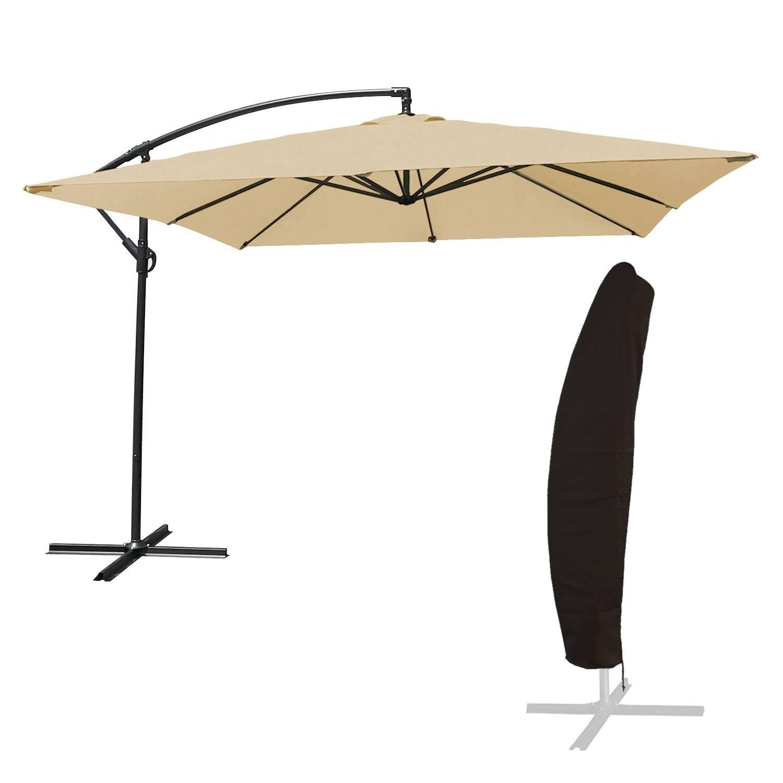 Parasol déporté MOLOKAI carré 2,7x2,7m beige + housse