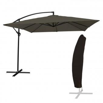 Parasol déporté MOLOKAI carré 2,7x2,7m gris + housse
