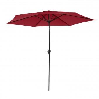Parasol droit HAPUNA rond 2,70m de diamètre rouge