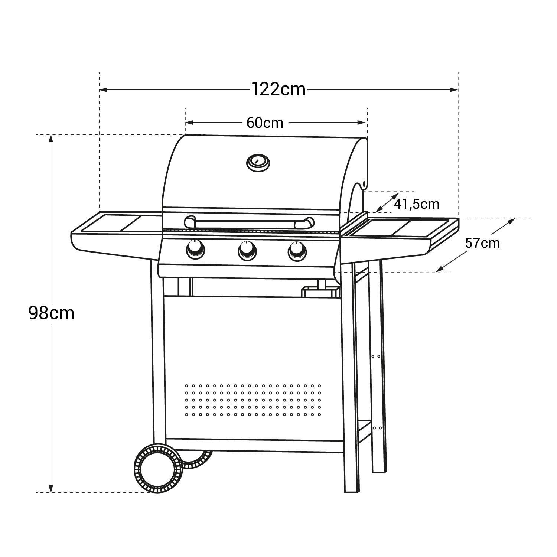 Barbecue au gaz ARKANSAS - 3 brûleurs avec thermomètre