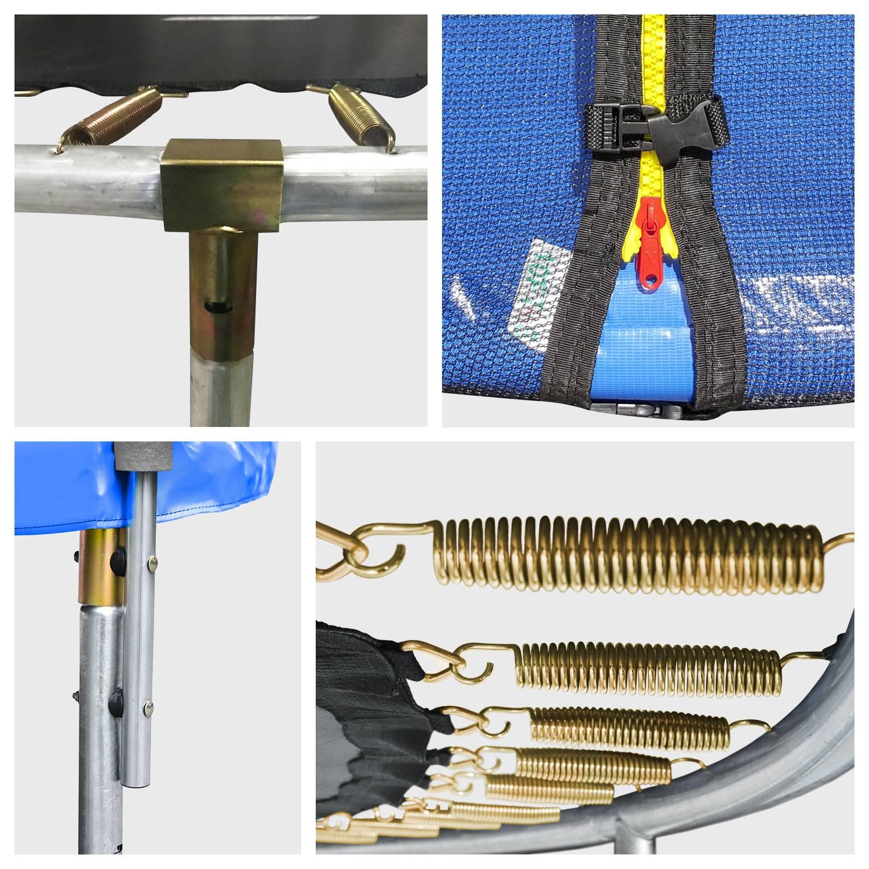 Pack Premium Trampoline réversible 245cm bleu et vert CANBERRA + filet, échelle, bâche et kit d'ancrage