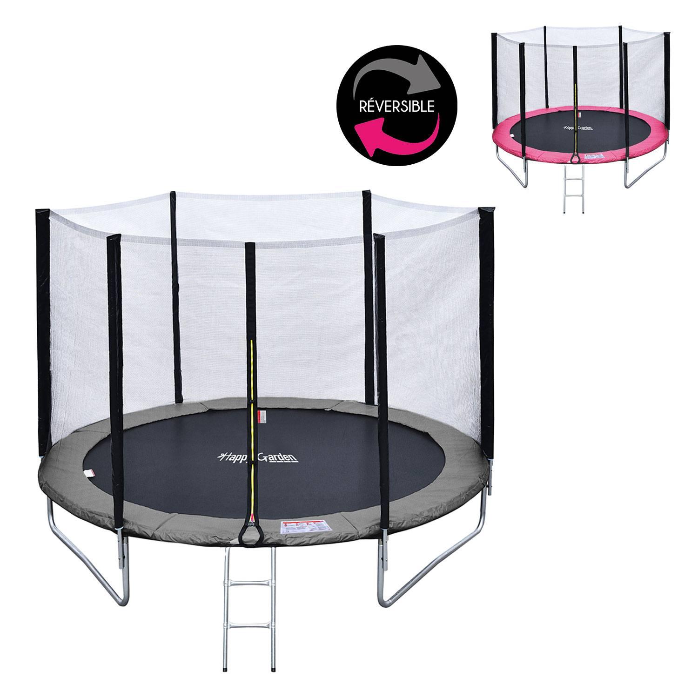 Pack Premium Trampoline réversible 180cm rose et gris CAIRNS avec filet de protection, échelle, bâche et kit d'ancrage