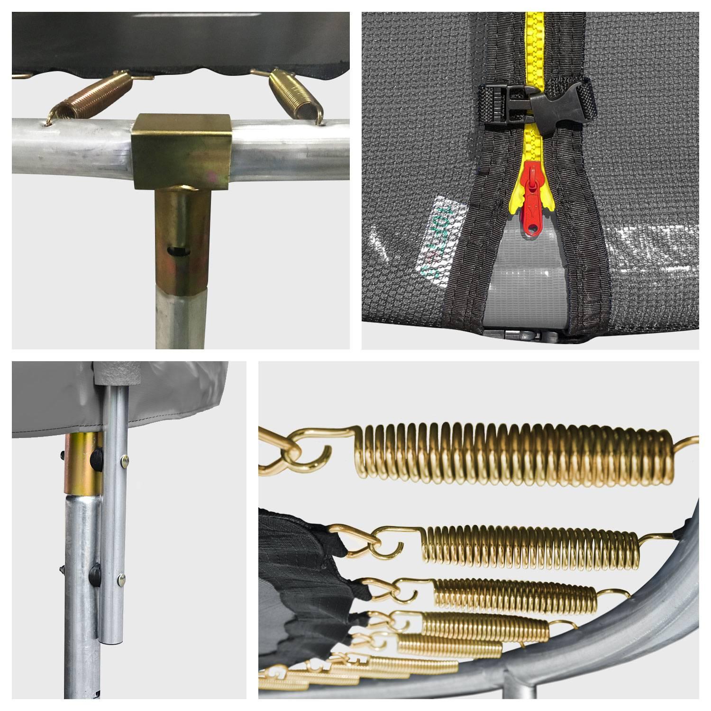 Pack Premium Trampoline 305cm réversible rose / gris ADELAÏDE + filet de protection, échelle, bâche et kit d'ancrage