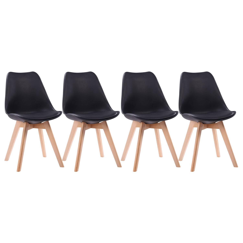 Lot de 4 chaises scandinaves NORA noires avec coussin