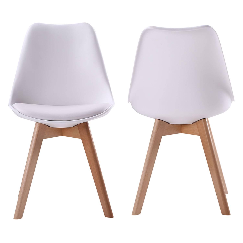 Lot de 4 chaises scandinaves NORA blanches avec coussin